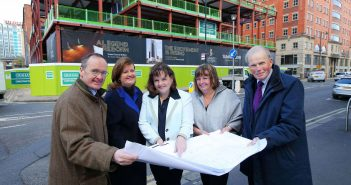 Directors of Hastings Hotels Howard Hastings, Managing Director, Allyson McKimm, Events Director, Aileen Martin, Sales Director, Julie Hastings, Marketing Director and Edward Carson, Vice-Chairman and Financial Director unveiled a new building wrap which will be changed a regular intervals helping to tell the story of the hotel as it is being built.