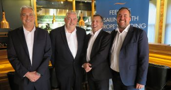 Jeremy McKenna, Head of Sales for Ireland and Britain; Francis Riley, Senior Vice President of Sales & Operations; Dick Wilkinson, General Manager Northern Europe & MEA; and Christian Böll, Managing Director, Europe, Middle East and Africa, at the Norwegian Cruise Line media briefing in Taste at Rustic Stone in Dublin, April 5, 2017