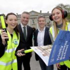 Trinity business student Alannah Higgins, from Boston, Provost Patrick Prendergast, Ryanair CFO Neil Sorahan and student Annie O'Gorman from Limerick. Photo: Mark Stedman