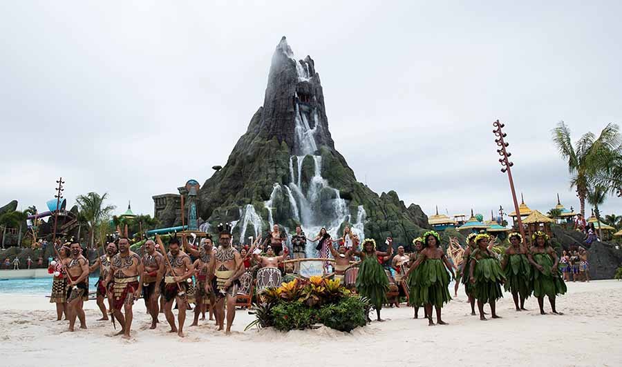 Now that's an eruption: Five HOUR waits as Universal's Volcano Bay in Orlando opens to sound of Haka from Maori dancers