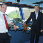 Master of the Stena Europe Richard Cleary and Ian Davies, Stena Line's Trade Director, Irish Sea South, are pictured on the bridge of the Stena Europe