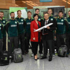 3 May 2017; Hasan Mutlu, General Manager of Turkish Airlines Dublin, with Edel Redmond, B2B Marketing Executive Dublin Airport, and members of the Ireland cricket squad prior to the squad's departure for the One Day Internationals at Bristol and Lord's at Dublin Airport in Dublin. Photo by David Maher/Sportsfile *** NO REPRODUCTION FEE ***