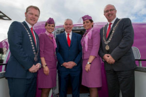 Seamus McGrath, County Mayor; Niall MacCarthy, MD, Cork Airport; and Joe Kavanagh, Deputy Lord Mayor of Cork along with cabin crew members Andrea Lisa Kjartansdottir and Andrea Osk Porkelsdottir.