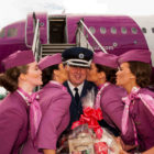 Ken Roberts, Chief of Airport Police, gets a welcome kiss from cabin crew members Andrea Lisa Kjartansdottir, Andrea Osk Porkelsdottir, Soldis Bjorg Oskardottir and Nanna Margaret Kristinsdottir from the inaugural WOW flight to Cork