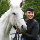 Spice, the Arab horse, and cabin crew member team up to announce Qatar Airways as the Official Airline Partner of the 2017 RDS Dublin Horse Show Photo Andres Poveda.