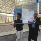President of Erasmus Student Network Safi Sabuni with Ryanair CEO Michael O'Leary in Brussels, as Ryanair became the exclusive partner of the EU Erasmus Student Network