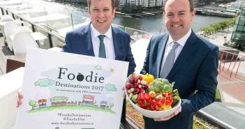 Adrian Cummins, Chief Executive, Restaurants Association of Ireland, and John Reade, Head of Business Insurance at FBD Insurance, launch the Foodie Destinations 2017 competition