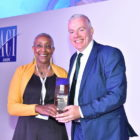Angela Gittens, Director General, ACI, and Niall McCarthy, Managing Director, Cork Airport, at the ACI Europe awards
