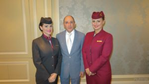 Qatar Airways CEO Akbar Al Baker, with cabin crew Bernadet Nagy and Maja Olovcic