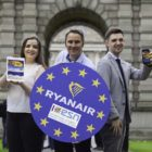 Pictured at Trinity College Dublin, launching a new Ryanair booking platform for Erasmus Student Network members were Robin Kiely, Ryanair Head of Communications, and Erasmus Students, Shannon McBride and Jack Morris,