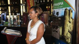 Incoming Area Manager Ireland Meseret Tekalign gives a speech looking forward to her now role, at the Ethiopian new year event organised by Ethiopian Airlines, Clayton Hotel, Dublin Airport, September 11, 2017