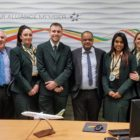 Michael Yohannes, centre, says goodbye to his team at Ethiopian in Dublin