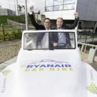 Mike McGrearty, Cartrawler, and Ryanair's Kenny Jacobs as the airline announced it's renewing its car hire partnership. Photo: Karl Hussey