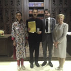 HRH Princess Sibella of Luxembourg, who presented the EMA 20117 Micheletti Award to Mark Leslie (Martello Media)for 'GPO Witness History', with Mark, Rene Capovin of the Micheletti Foundation and Ann Nicholls of the European Museum Academy in Skopje.
