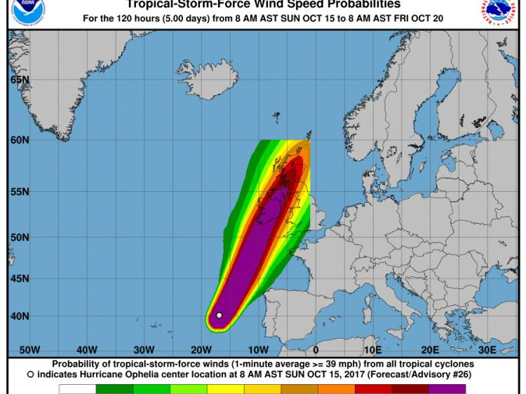 Storm Ophelia updates for evening of Monday 16th/Tuesday 17th morning