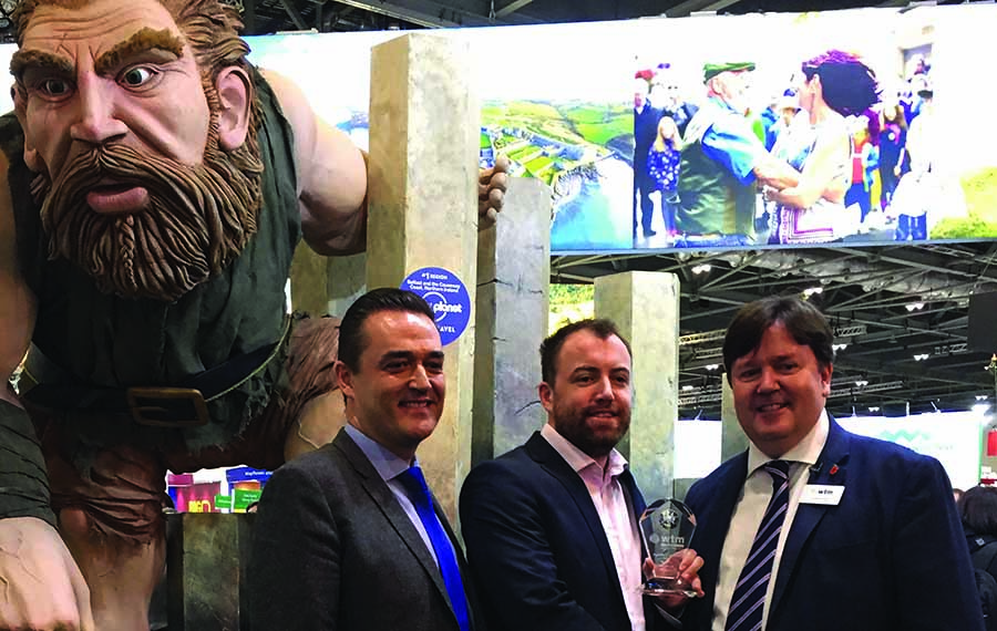 Giant's Causeway character wins best stand feature award at WTM for Tourism Ireland
