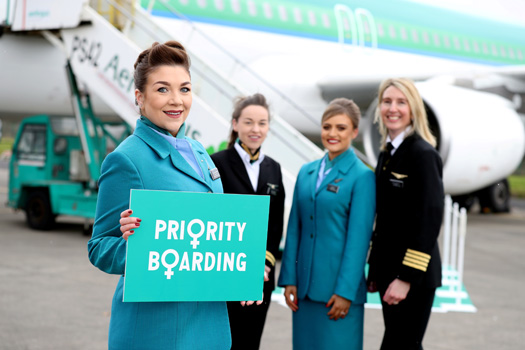 Cabin Crew Nicola Dempsey with First Officer Anne Kirwan, Cabin Crew Hannah Brady and Captain Kelly Dolan as Aer Lingus marks International Women's Day today by offering Priority Boarding to all women departing on British and European flights from Dublin, Cork, Shannon, Knock and Belfast. Some 110 flights on Thursday 8th March will see female travellers along with any junior travel companions board their flight ahead of all other guests as a gesture by the airline to join in this global celebration recognising the achievements of women. Photo: Jason Clarke.