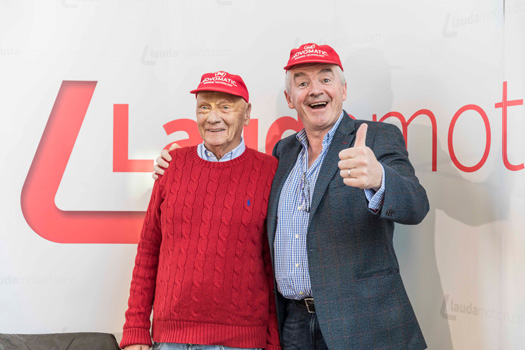 Niki Lauda, Laudamotion Chairman and Michael O'Leary, March 28, 2018