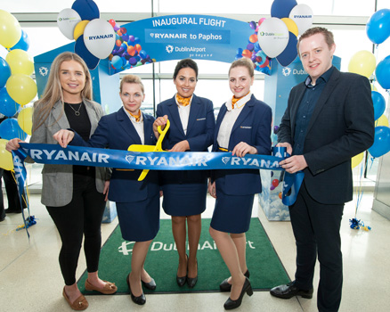 Ryanair Marketing Executive Eimear Ryan, Ryanair Cabin Crew Ilona Vaiciuniene, Sam Kinsella and Iryna Yryuriv, and Dublin Airport Aviation Business Development Manager Brian Gallagher, at the route launch to mark Ryanair's new service to Paphos, April 9, 2018