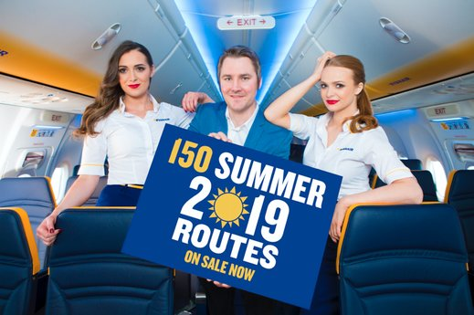 Ryanair's early arrival: 150 routes from Summer 2019 schedule now on sale