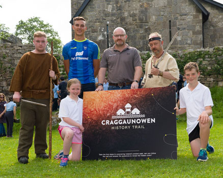 Clare hurler Peter Duggan,  Allan Hamilton of Brilliant Trails, Evan and Stefan, Celtic Animator along with Katie and Darragh from Kilmurry NS pictured at the launch of Craggaunowen Education History Trail, Co Clare. Don Moloney / Press 22