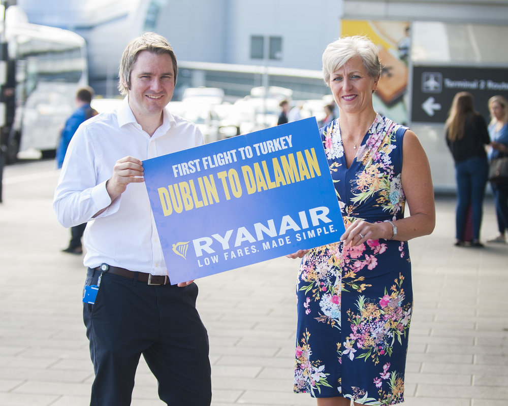 Robin Kiely of Ryanair and Siobhan O'Donnell of the DAA at the launch of the Dublin-Dalaman service, June 25, 2018