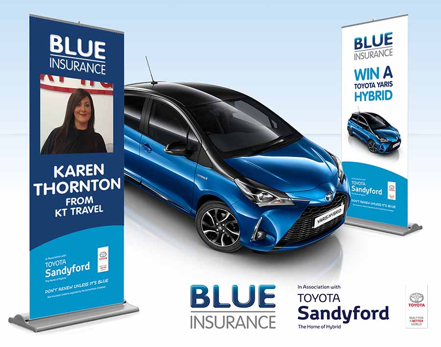 Karen Thornton from KT Travel is June finalist in Blue Insurances Toyota Yaris competition