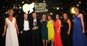 Gerard Loughran, John Loughran and Ciara Kelly of the Sandymount Hotel with wives Audrey Loughran and Emily Loughran, and the hotel's Ann McCabe, at the World Travel Awards in Athens, June 30, 2018