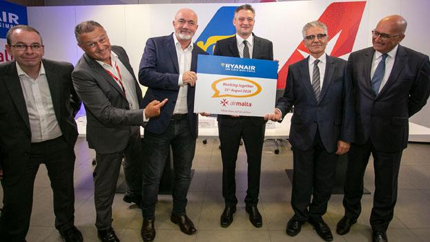 Ciaran Brannigan, Ryanair, Paul Sies, Air Malta; David O'Brien, Ryanair; Hon Dr Kondrad Mizzi Minister for Tourism, Malta; and Dr Charles Mangion, Air Malta, August 21, 2018