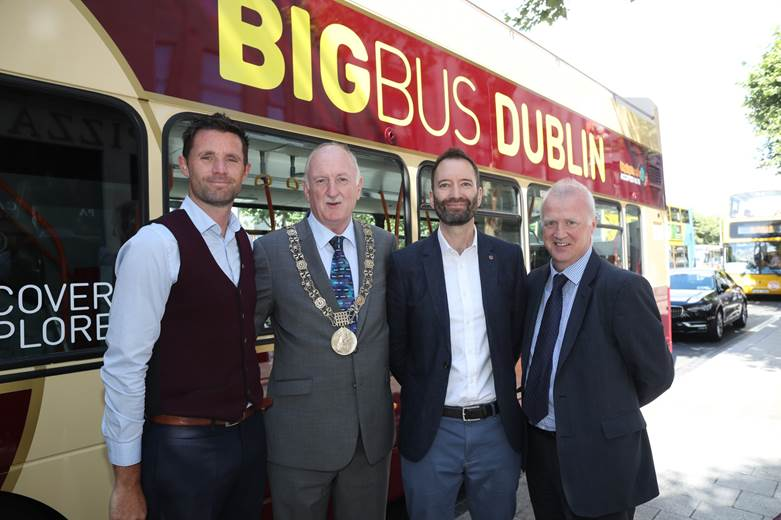 David McConn, MD of Big Bus Dublin; Mayor of Dublin Nial Ring, Phil Boggon; the EVP of Western Europe at Big Bus tours; and Mark Rowlette,Failte Ireland