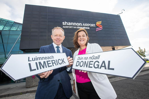Minister of State for the Diaspora and International Development, Ciaran Cannon and Ciara Sugrue, Head of Festivals, Fáilte Ireland, launch the Global Irish Festival Series at Shannon Airport. Photos: Sean Curtin True Media.