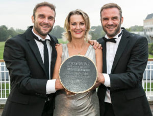 David Flynn and Stephen Flynn of the Happy Pear with Tracey Carney, Communications Director, Premier Publishing, at the Food & Drink Business Awards, Citywest hotel, Dublin. September 2018. Photo: Paul Sherwood