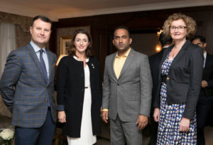 Nicky Logue, GM, Intercontinental Hotel. Marie Chawke, Dromoland Hotel, Arif Pasha, Turkish Airlines and Oonagh Kelly, Fáilte Ireland at the UAE networking night in the InterContinental Hotel, September 2018