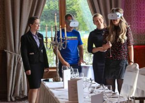 Sharon Devine, 3rd left, Wedding Sales Manager at the Brehon, introducing the virtual reality techology to Maria Sullivan and Eoin Murphy, also included is Caitriona Ashe, Wedding Co-ordinator. Photo:Valerie O'Sullivan