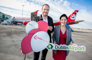 Laudamotion Managing Director Andreas Gruber and Dublin Airport Head of Marketing Louise Bannon celebrating the airline's inaugural flight between Dublin and Vienna.