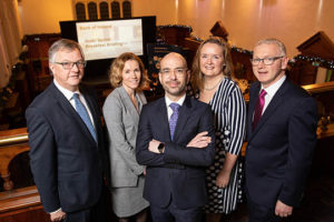 Tim Fenn, Irish Hotels Federation;Mairea Doyle Balfe, Crowe; Gerardo Larios, Head of Hospitality, Bank of Ireland Business Banking;Sarah Duignan, STR; John Hughes, CBRE Hotels at the Bank of Ireland Hotel Sector Business Briefing. Photo: Naoise Culhane