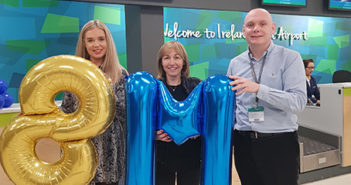 Eimear Ryan, Ryanair Sales and Marketing executive for Britain and Ireland; eight millionth passenger Irene Davey from, Ballaghaderreen, Co Roscommon, and Donal Healy, Knock Airport Head of Marketing and Route Development.