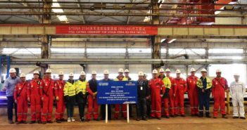 Staff from Stena RoRo and the Avic Weihai Shipyard in China are pictured at the steel cutting ceremony for the third of three new E-Flexer ships to be deployed on Stena Line's Irish Sea routes during 2020 and 2021.