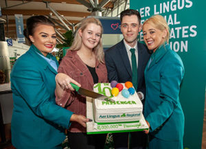 Cork to Glasgow passenger Aoife Twomey from Dingle, Co Kerry, became the 10 millionth passenger to fly with Aer Lingus Regional Service operated by Stobart Air.