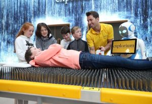 Head of Science and Sport Mark Langtry with Laura Manning 11 (left) and Grace Thompson 11, Conal Curran 12, Tommy Horkan 11 and Sarah Thompson, 11 , at Explorium, Ireland's first sport and science centre. It includes over 300 interactive exhibits, spanning 110,000 sq ft at the foothills of the Dublin Mountains. Photo: Robbie Reynolds