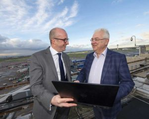 Paul McCann, General Manager, Irish Aviation Authority and Dublin Airport Managing Director Vincent Harrison launch A-CDM at Dublin Airport.