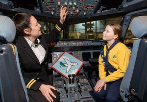 First Officer Rachel Passmore and Sarah Cassidy (9) (Brownie); at the announcement that Aer Lingus has partnered with the Irish Girl Guides