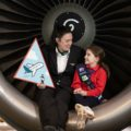 First Officer Rachel Passmore; and Alicia Losty (8) (Ladybird) at the announcement that Aer Lingus has partnered with the Irish Girl Guides . Photo: Naoise Culhane