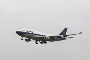 British Airways Boeing 747 repainted in BOAC colours in Dublin, February 2019