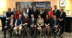 Alison Deegan, Original Irish Hotels; Colin Wynne, Moloney & Kelly; Louise McGee, B&B Ireland; Richard Byrne, Adams & Butler; John Goranson, Collette Vacations; John Higgins, National Trust – Giant's Causeway; Clarissa Delap, St Patrick's Cathedral; Jonathan Sargeant, Royal Irish Tours; Alison Behan, The Merrion Hotel; David Cleary, EPIC The Irish Emigration Museum; Janice Tozer, CIE Tours International; and (front, l-r) Jason Powell, Mid and East Antrim Borough Council; David Wardell, Irish National Stud; Dana Welch, Tourism Ireland; Frank Flood, Consul General of Ireland in Vancouver; Alison Metcalfe and Sandra Moffatt, both Tourism Ireland; and Peter Ousonov, Globus, in Vancouver