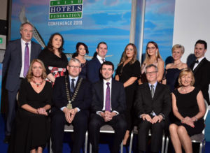 4-3-2019: Minister Brendan Griffin with finalists of the Employee Awards 2019 in The Gleneagle Hotel, Killarney. Included are in Maura Casey, Aghadoe Heights Hotel, Killarney, Michael Lennon, President, HF, Minister Brendan Griffin, Tim Fenn, CEO IHF and Beatrice O'Donoghue, Sandymount Hotel, Dublin. At back are from left, Tony Lenehan, Stacey Bland, Midlands Park Hotel, Portlaoise, Michelle Kilcoyne, Breaffy House Hotel, Mayo, Gordon Kavanagh, Talbot Hotel, Wexford, Sharon Heneghan, The Johnstown Estate Hotel, Enfield, County Meath, Donna Hennessy, Castlemartyr Resort Hotel, Cork, Monica Heavenor, Woodland's Hotel and Spa, Adare, County Limerick and Martin O'Donnell, The Twelve Hotel, Galway. Photo Don MacMonagle repro free photo